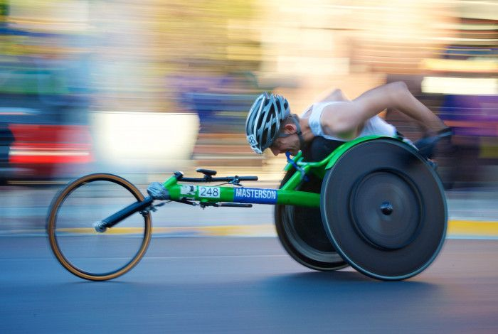 man racing wheelchair