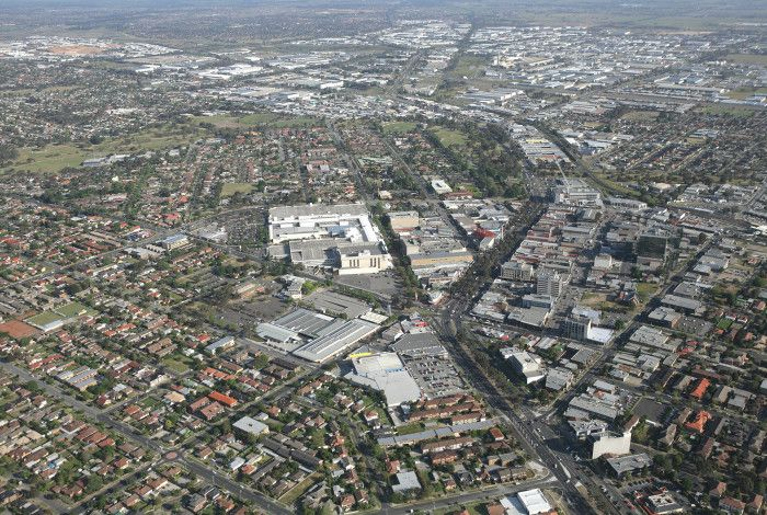 Aerial shot of Dandenong Central Business District