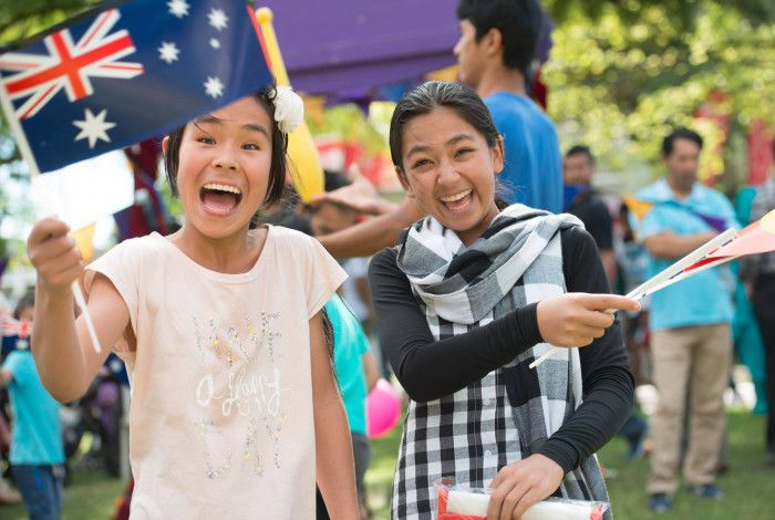 two girls enjoying the Australia Day Festival