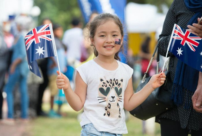 Young girl enjoying the Australia Day Festival