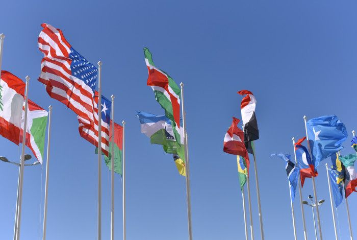flags from many countries flying