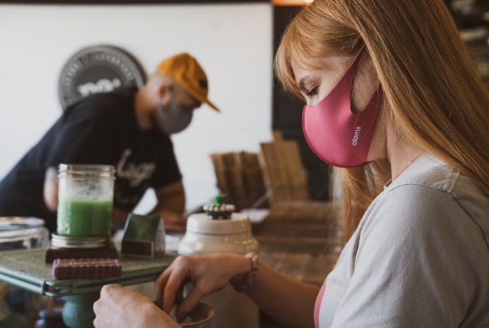 coffee shop staff wearing masks