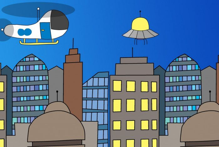cartoon image of buildings and a helicopter